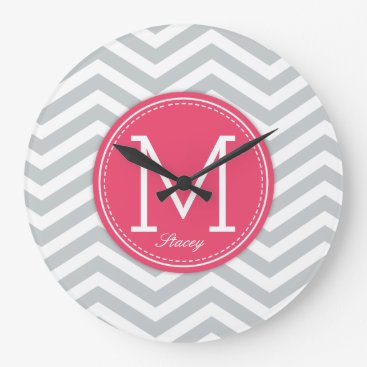 Modern grey & pink Chevron with Monogram Large Clock