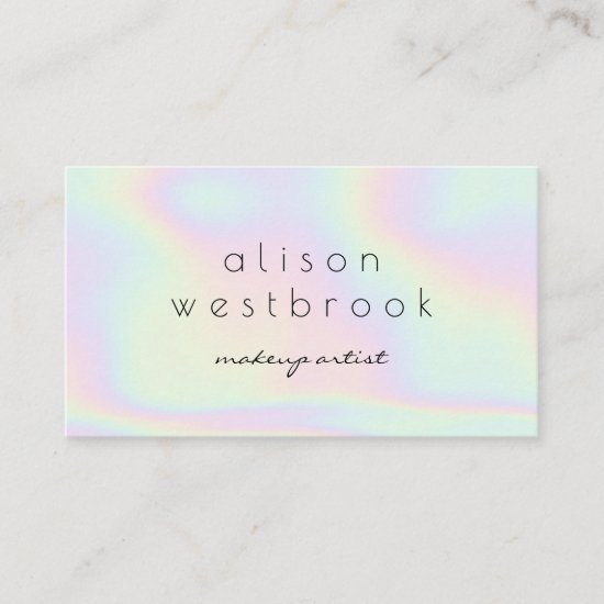 Modern holographic makeup artist gradient rainbow business card