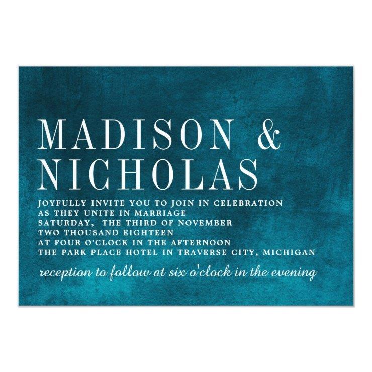 Modern Hues Watercolor Teal Typography Wedding Card