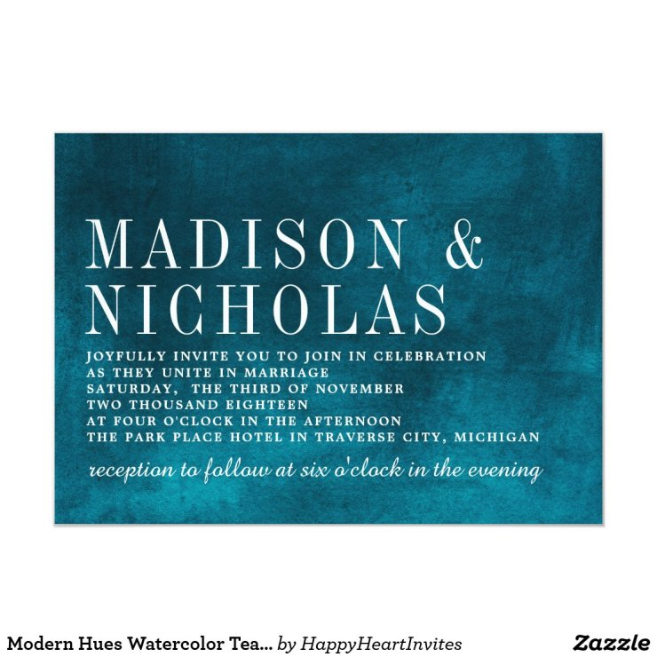 Modern Hues Watercolor Teal Typography Wedding Card