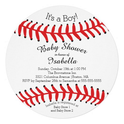 Personalized Baseball Baby Shower Invitations