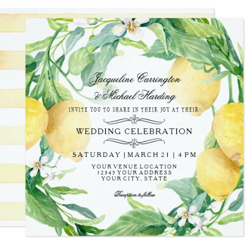 Modern Lemon Floral Flower Wreath Citrus Wedding Card