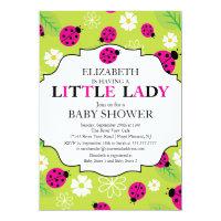 Modern Little Lady Pink Ladybug Baby Shower Card