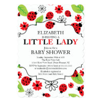 Modern Little Lady Red Ladybug Baby Shower Card