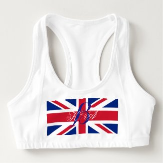 modern london fashion union jack british flag sports bra