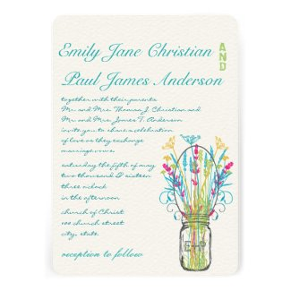 Modern Mason Jar Aqua Pink Yellow Lime Wedding Announcement