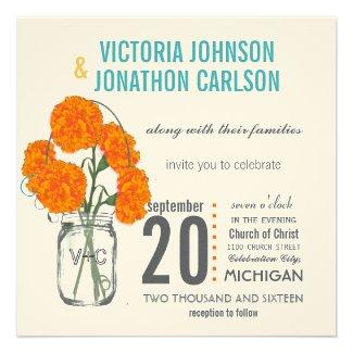 Modern Mason Jar Aqua Yellow and Coral Carnations