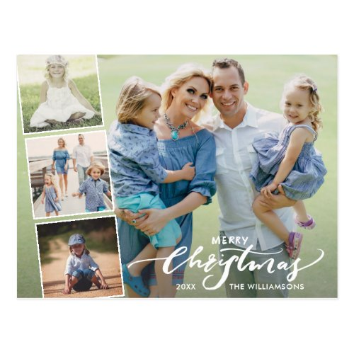 Modern Merry Christmas Hand Lettered Photo Collage Postcard