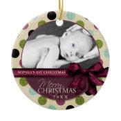 Modern Merry Christmas Polka Dots Ornament ornament