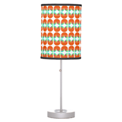 Modern Mid Century Style Fresh Orange Teal Print Table Lamp
