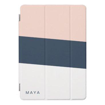 Modern minimal abstract geometric navy blue pink iPad pro cover