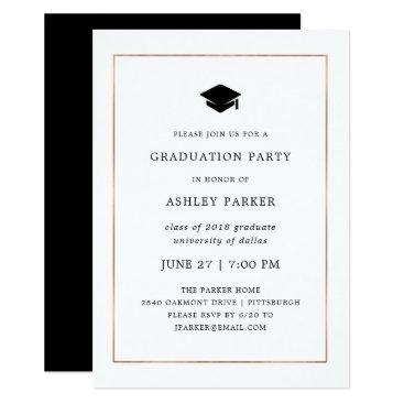 Modern Minimal | Faux Rose Gold Border Grad Party Card