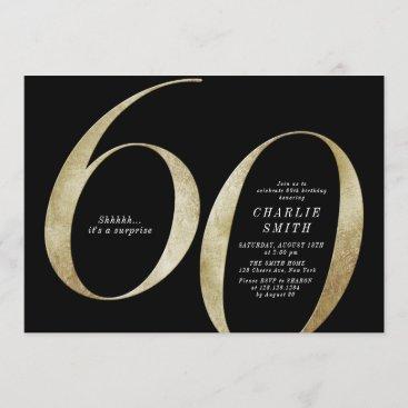 Modern minimalist black and gold 60th birthday invitation