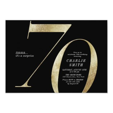 Modern minimalist black and gold 70th birthday invitation