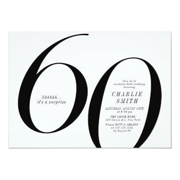 Modern minimalist black and white 60th birthday invitation