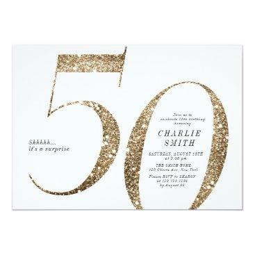 Modern minimalist faux gold glitter 50th birthday invitation