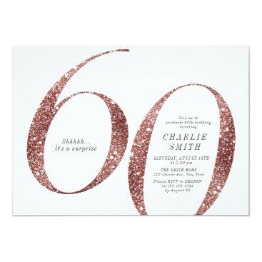 Modern minimalist rose gold glitter 60th birthday invitation