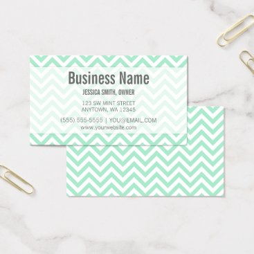 Modern Mint and White Chevron Pattern Business Card