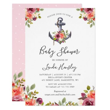 Modern Nautical Anchor Floral Girl Baby Shower Invitation