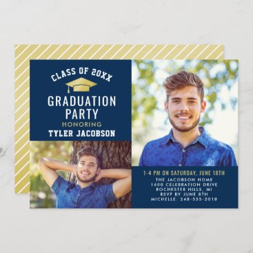 Modern Navy and Gold 2021 Photo Graduate Party Invitation
