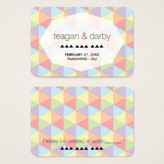 Modern Pastel Rainbow Geometric Wedding Place Card