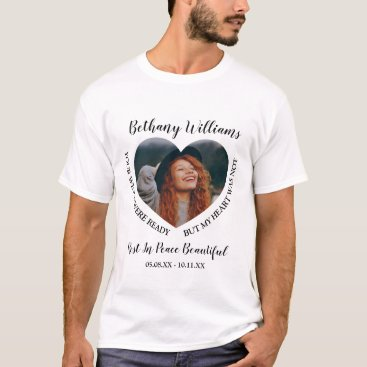 Modern Personalized Heart Photo Memorial T-Shirt