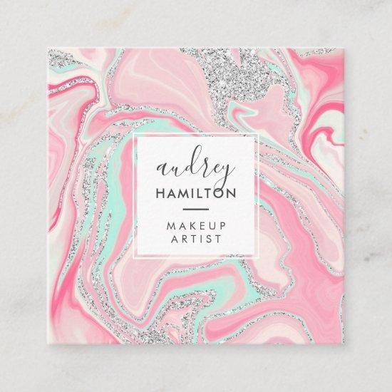 Modern pink marble silver elegant makeup artist square business card