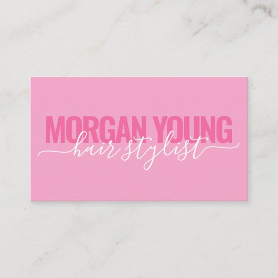 Modern pink white hair stylist script signature business card