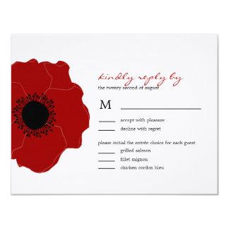 Single Red Poppy Flower Acrylic Wedding Invitation Card 5 7inch China Mainland