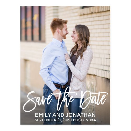 Modern Portrait Picture Save The Date Postcard