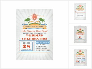 Modern Poster Style Beach Wedding Collection