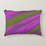 Modern Purple and Green Color Swish Abstract Decorative Pillow