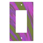 Modern Purple Green Color Swish Abstract Light Switch Cover