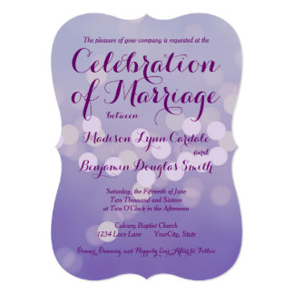 Purple Laser Cut Ivory Flower Twine Wedding Invitations Iwsm046