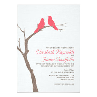 Modern Red Birds Wedding Invitations