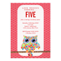 Modern Red Girls Birthday Party Rainbow Owl Invite