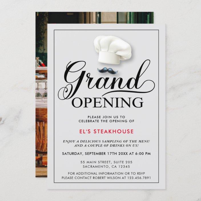 modern restaurant opening invitation zazzle com