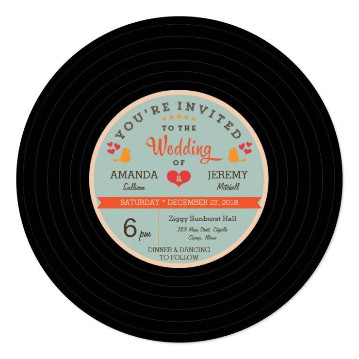 Modern Retro Vinyl Record Orange Sky Blue Wedding Card