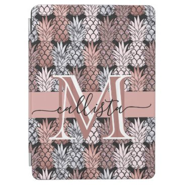 Modern Rose Gold Glitter Pink Pineapples Monogram iPad Air Cover