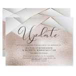 Modern Rose Gold Pearl Facets Postponed Wedding Invitation