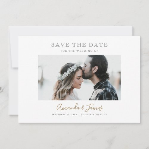Modern Script Custom Photo Wedding Save the Date