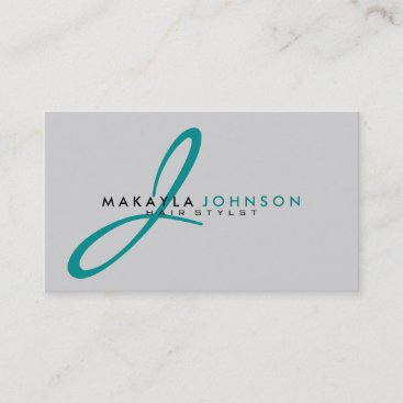 Modern & Simple teal blue Monogram Professional Business Card