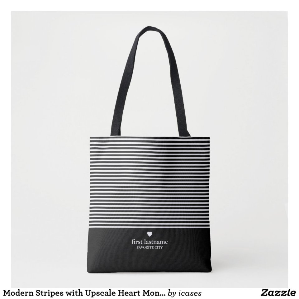 Modern Stripes with Upscale Heart Monogram Personalized Black Tote Bag