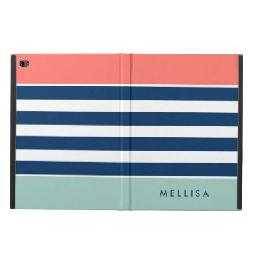 Modern Stylish Coral Mint Navy White Stripes Powis iPad Air 2 Case