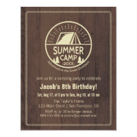Modern Summer Camping Birthday Party Invitations