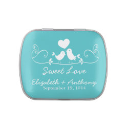 Modern Sweet Love Birds Wedding Favor Candy Jelly Belly Tin