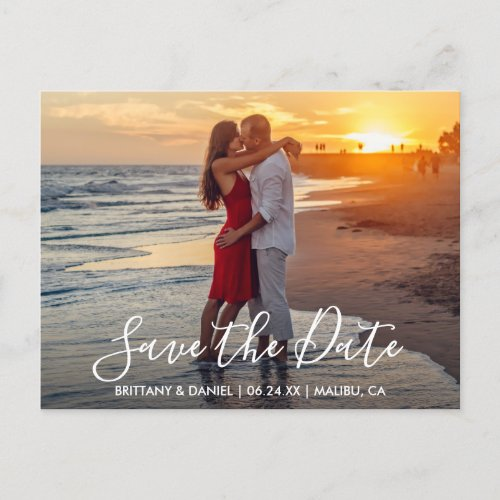 Modern Trendy Script Save The Date Photo Postcard