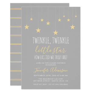 Yellow And Grey Baby Shower Invitations