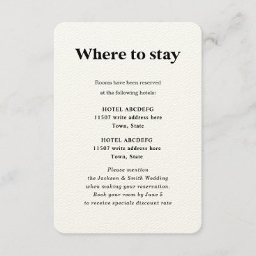 Modern Typography black and white wedding hotels   Enclosure Card