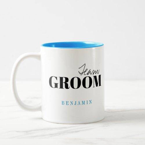 Modern Typography Personalized Team Groom Mug